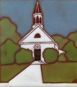 This is a painted tile depicting the exterior of the first church building built by Hope Presbyterian (was then First Presbyterian)